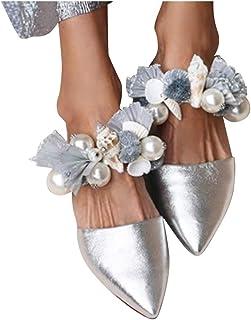 Driuankeji Women's Backless Slip On Loafers Flats Ladies Elegant Dress Sandals Pearl Flowers Mule Slippers Shoes