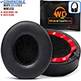 Wicked Cushions Premium Beats Solo 2 Earpad Replacement- Easy To install Cushions for Beats Solo 2 & 3 Wireless ON-EAR Headphones (NOT for Over-ear Beats STUDIO) | Adaptive Memory Foam & Soft Pleather