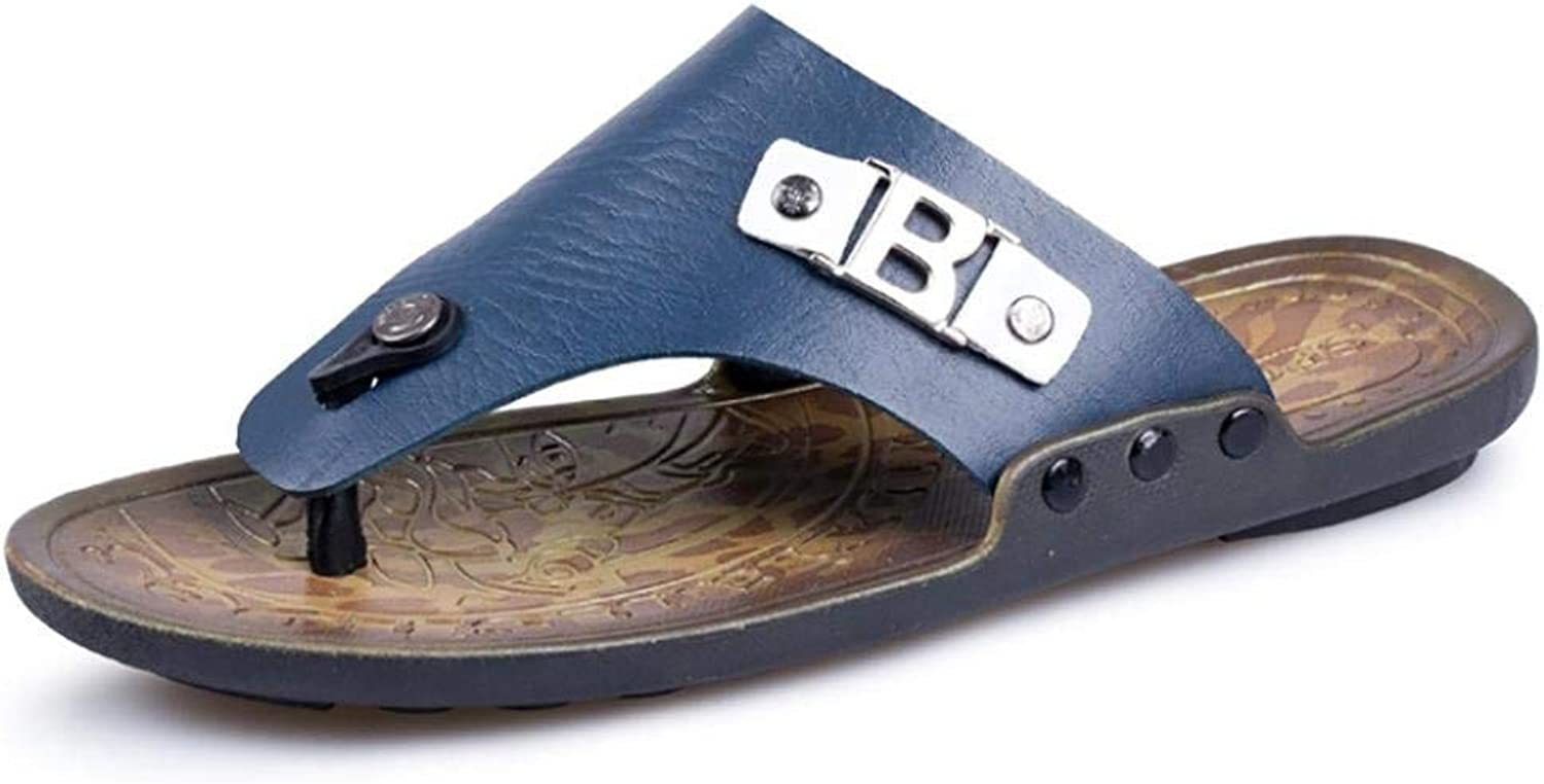 FuweiEncore Men's Classic Fashion Casual Flip Flops Slipper in Genuine Leather for summer (color   bluee, Size   42)