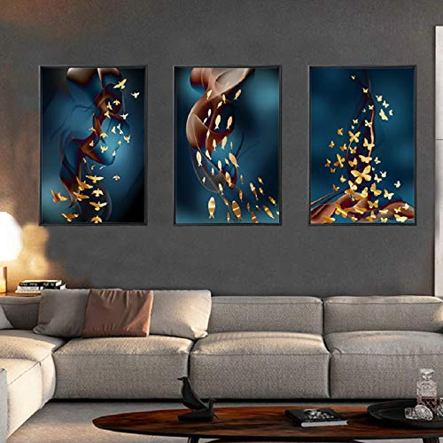 "Sungup Print on Canvas Gold Birds Fish Canvas Paintings Wall Art Posters Decorative Wall Prints for Home Decor No Frame 20""x28""(50x70cm)×3"