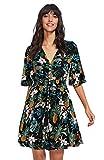 Milumia Women's Boho Button Up Split Floral Print Flowy Party Dress Floral Green Medium