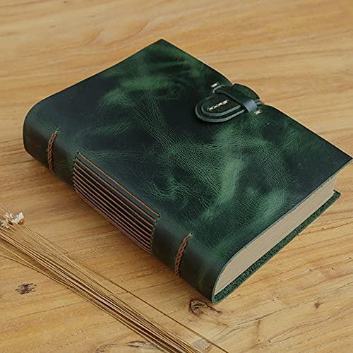 Cuaderno de Cuero Hecho a Mano, Diario Retro Bloc de Notas 14x19x4cm (Color : Green)