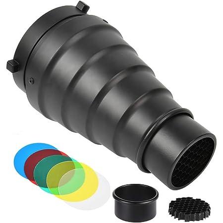 Kit de Snoot Bowens Fotografía Cónico,5 Piezas de Filtros de Gel de Color y Honeycomb Grid,Flash Softbox,para Tomar Fotografías de Luz Especial,para Canon Nikon Cámara Universal