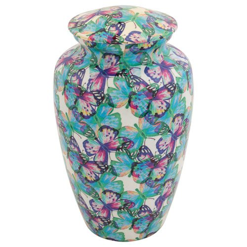 Silverlight Urns Butterfly Kaleidoscope Cremation Urn for Ashes, Multi-Color Butterfly Adult Funeral Urn, 10.5 Inches High