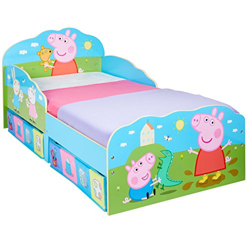 HelloHome Peppa Pig Kinderbett mit Unterbettkommode, Holz, Mehrfarbig, 142 x 77 x 63 cm