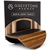 Greystone Avenue Sofa Arm Table with Non-Slip Silicone Top & Waterproof Base Prevents Spills & Stains - Couch Tray for Wine & Coffee - Couch Arm Table, Sofa Arm Tray - Acacia Wood