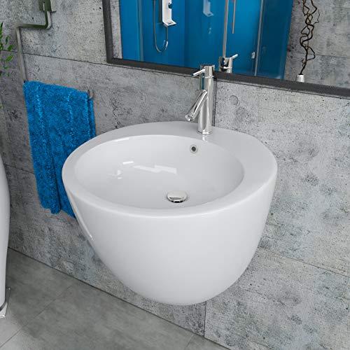 Design Keramik Waschbecken Waschtisch Halbsäule Waschschale rund KBW9301