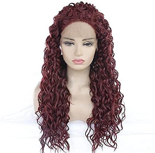 HTDYLHH Belles perruques, Pelucas compatibles con las mujeres europeas y americanas Lamera larga de peluca esponjosa, vino rojo pequeño volumen en la selección de pelucas. pour une utilisation quotidi