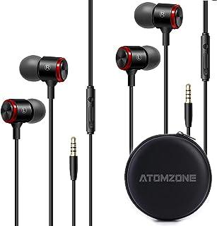 Atomzone Audifonos intrauditivos Deportivos, Aislamiento de Ruido, Auriculares con bajo Pesado y micrófono y Controlador p...