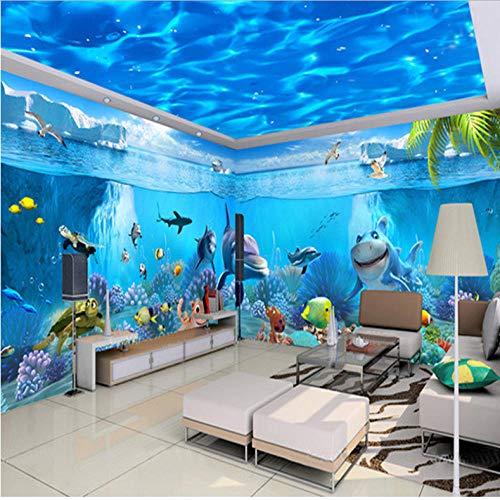 Dianer Aangepaste 3D foto behang High-End blauwe waterlijnen verlaagd plafond muurschildering plafond behang voor muren 3D Afmetingen: 200 x 140 cm.
