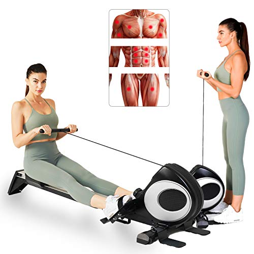 Magnetic Rowing Machine Full Body Training Quiet Adjustable Resistance Rower Indoor Fitness Workout w/LCD Monitor Foldable Exercise Equipment for Home Use, R60 (Black)