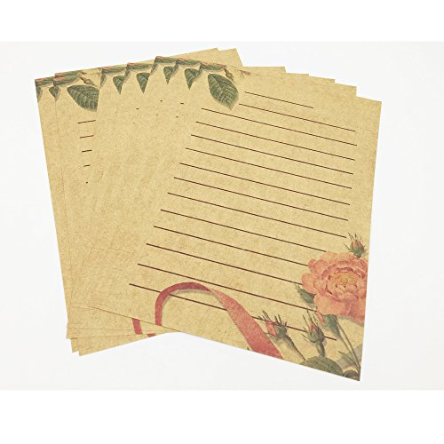 Eternityfing Vintage Lace Kraft Lined Writing Paper Stationary Paper Sets-64 Sheets
