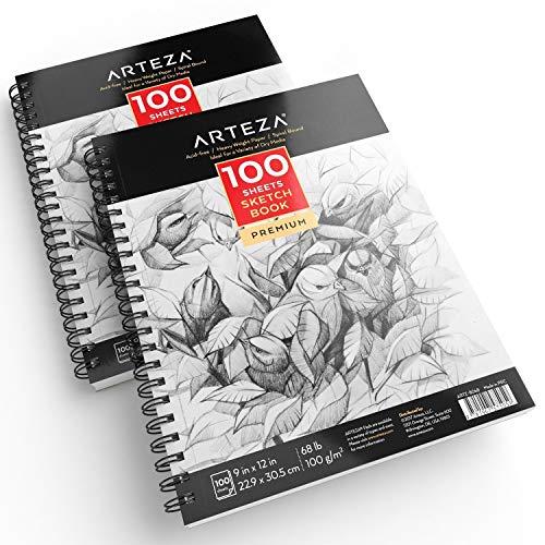 ARTEZA Cuadernos de dibujo | Pack de 2 blocs en espiral de doble anilla | 100 hojas cada uno | Papel grueso para bocetos | Tamaño 22,9 x 30,5 cm | Grosor 100 gsm | Sin ácidos | Blanco brillante