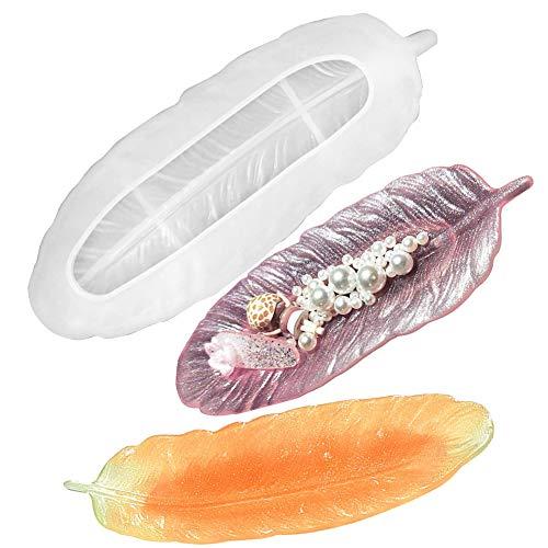 Calistouk - Moldes de resina epoxi de silicona para bandeja, molde de fundición de epoxi plumas para hacer joyas de resina, soporte de anillo para joyería, plato de baratija hecho a mano
