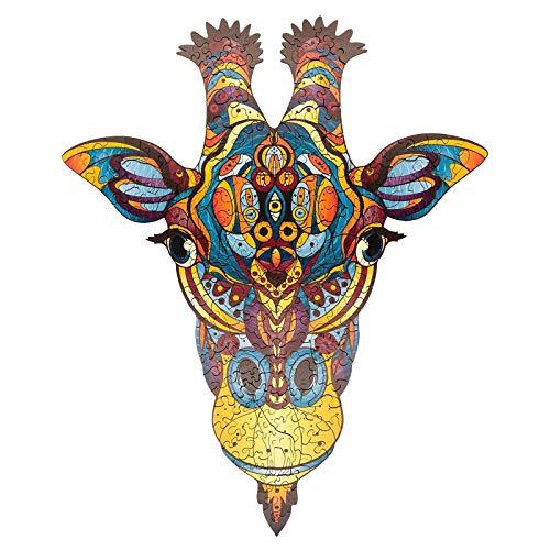 FOTBIMK Holzpuzzle,Baustein Puzzle Spielzeug, Mysterious Tier Osterpuzzle Wooden Jigsaw Puzzle,Holzpuzzle Fur Erwachsene Und Kinder, Ideal Für Die Familienspiel sammlung(Giraffe