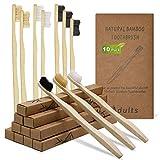 DTNO.I Cepillos de Dientes de Bambú, Paquete de 10 Cepillo Dientes Orgánicos Ecológicos Sin BPA y Veganos, Medio Suave Cepillo de Dientes Biodegradable Natural con Embalaje Reciclable para Adultos