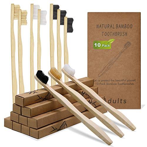 DTNO.I Cepillos de Dientes de Bambú, Paquete de 10 Cepillo