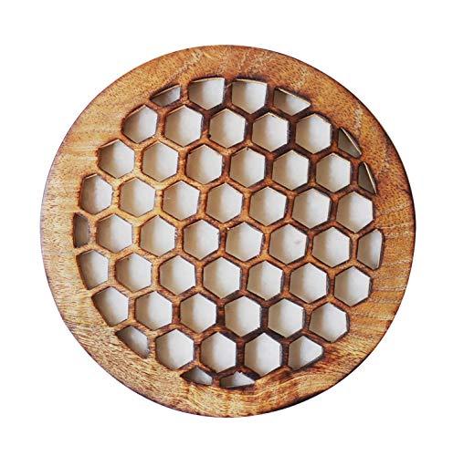 Honey Comb Design Wooden Trivets For Hot Pots and Pans Tea Pot Holder For Home & Kitchen