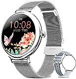 Bengux Smartwatch Mujer, Reloj Inteligente Impermeable IP68 con Smart Watch Monitor de Sueño Pulsómetros Cronómetros Contador de Caloría,Control de Musica, iOS y Android Plata