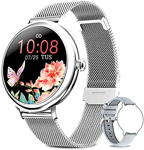 Smartwatch donna,Orologio Fitness Sportivo Donna Impermeabile Smart Watch Cardiofrequenzimetro Contapassi da Polso Monitor Pressione Sanguigna Activity Tracker Compatibile con Android iOS(Argento)