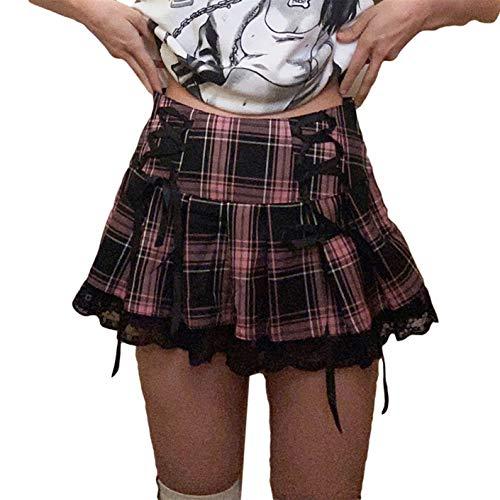 Damen Sexy Spitze Plissee Minirock Y2k Schicht A Linie Kurz Rock Gothic Teen Mädchen Patchwork Hohe Taille Rüschen Club Rock Gr. 40, B