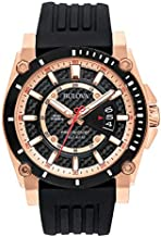 Bulova Precisionist Men's Watch, Stainless Steel with Black Silicone Strap, Two-Tone (Model: 98B152)