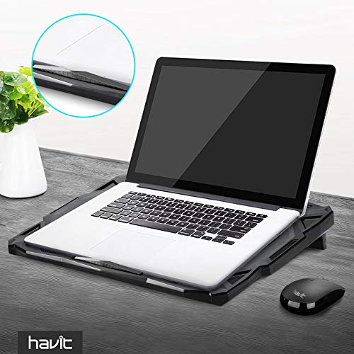 Product Image 9: havit 5 Fans Laptop Cooling Pad for 14-17 Inch Laptop, Cooler Pad with LED Light, Dual USB 2.0 Ports, Adjustable Mount Stand (Black)