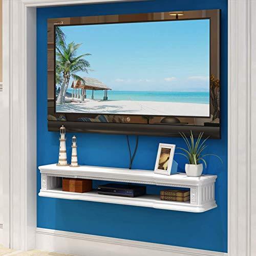 ZXYY TV-meubel, muur, router, wifi, set-topbox, kabelbox, tablet, opslagruimte, tv-bodem, wandrek, tv-rek, drijvend (kleur: bruin B 80 Cm-white