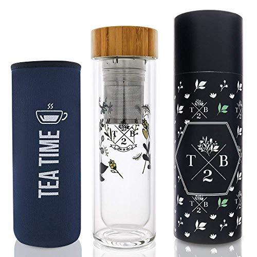 Teeflasche Glas doppelwandig isoliert als Teebereiter mit Blumenmuster,2-in1 Teesieb und Neoprenhülle blau Tea Time, to-go für Tee, Fruit Infuser und Detox-Wasser, 400 ml