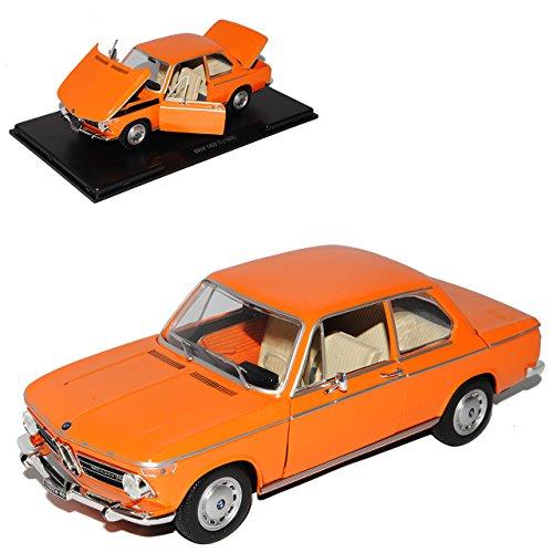 B-M-W 1600-2 TI 2 Türer Orange 1966-1971 Mit Sockel und Vitrine 1/24 Modellcarsonline Modell Auto mit individiuellem Wunschkennzeichen