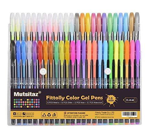Mutsitaz 48 Colores Bolígrafos de Gel para Colorear Adultos - Incluye Purpurina, metálico, neón y clásicos - para Scrapbooking, Colorear, Dibujar y Artesanal by