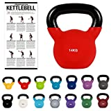 MSPORTS Kettlebell Professionale 14 kg | Ghisa Revestimento in Neoprene | incl. Workout PDF | Rosso Corsa