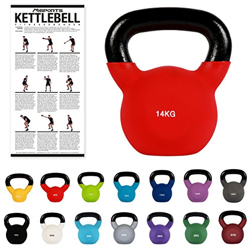 MSPORTS Kettlebell Neopren 2 – 30 kg inkl. Übungsposter (14 Kg - Rot) Kugelhantel