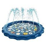 BIG SPRINKLER SPLASH PAD E SICUREZZA AL 100% - Lo sprinkler per acqua da 68 '' per bambini è stato realizzato in PVC resistente BPA che è stato accuratamente testato e resisterà alla prova del periodo di tempo, dimostrato che il cuscinetto per schizz...