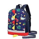RUI NUO Mochila infantil para niños y niñas, impermeable, diseño de dinosaurios, Color a azul,