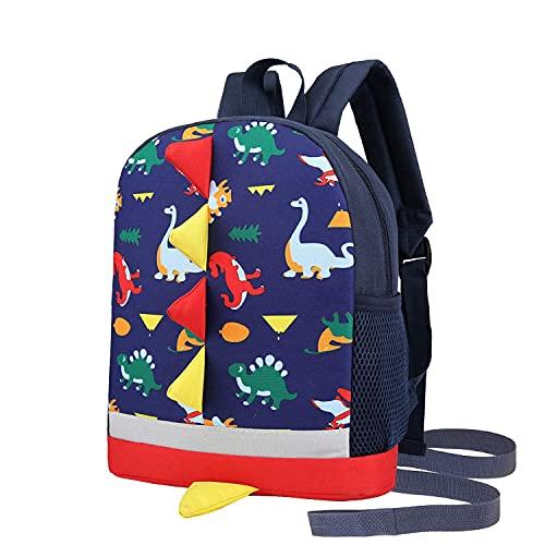Kinder Kleinkind Rucksack Jungen mit Riemen Dinosaurier Blau Kindergarten Leine Büchertasche (dunkelblau)