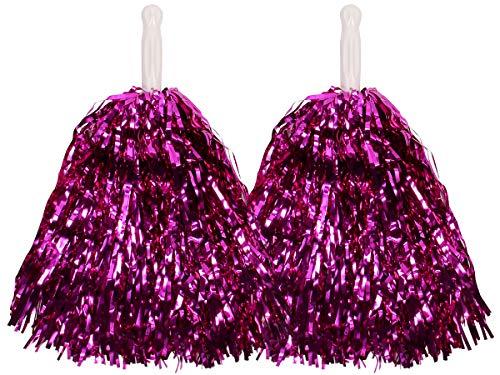 Pompon da Cheerleader Metallici Accessorio per Addio al Nubilato Halloween Carnevale Festa Serata a Tema di Alsino, rosa-fuchsia_28