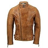 Xposed Chaqueta de motociclista de piel auténtica para hombre, estilo retro, con cremallera cruzada, color marrón claro, negro, color Marrón, talla 5X-Large