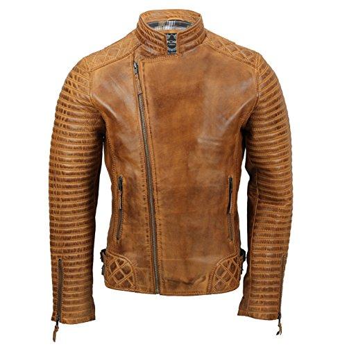 Xposed Chaqueta de motociclista de piel auténtica para hombre, estilo retro, con cremallera cruzada, color marrón claro, negro, color Marrón, talla Medium