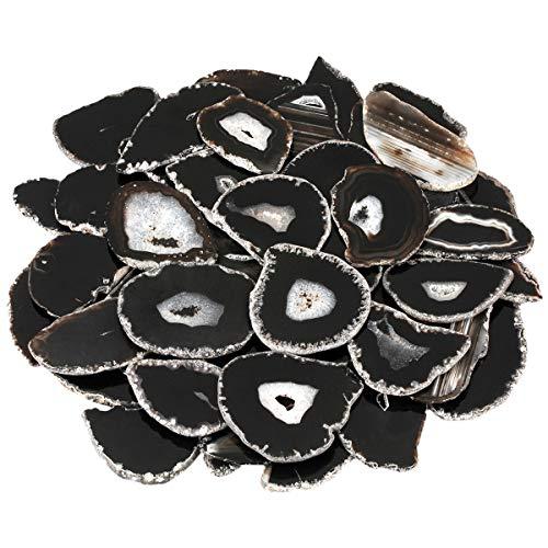 KYEYGWO 10 Stück Polierte Achat-Geodenscheiben Dekorationsstein für Heimdekoration, Schmuckherstellung Black-Without