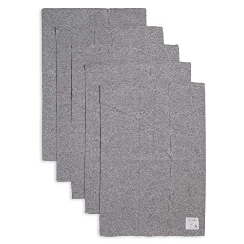 Burt's Bees Baby - Burp Cloths, 5-Pack Extra Absorbent 100% Organic Cotton Burp Cloths, Heather Grey Solids
