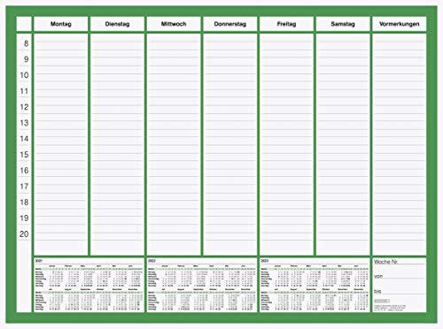 BRUNNEN 1070125001 Schreibunterlagenblock Modell 701 25, 1 Blatt = 1 Woche, 585 x 435 mm, 50 Blatt, 3 Jahresübersichten am unteren Rand