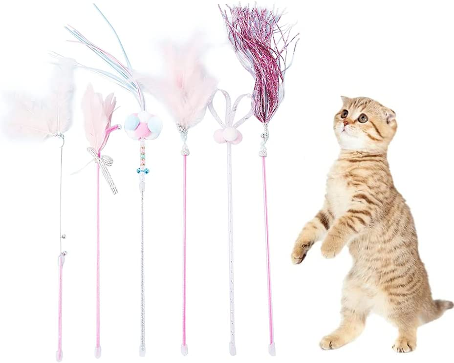 We OFFer Fashionable at cheap prices 6PCS Interactive Cat Toys Wand Spangle with Bo Feathers Toy