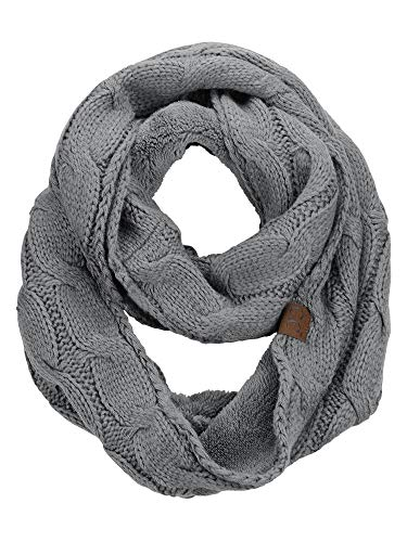 C.C Women's Winter Cable Knit Sherpa Lined Warm Infinity Pullover Scarf, Light Melange Grey