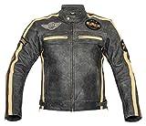 XLS Motorradjacke Herren Klassik Motorrad Lederjacke Retro Bikerjacke Vintage Grau (5XL)