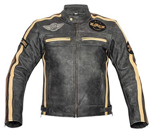 XLS Motorradjacke Herren Klassik Motorrad Lederjacke Retro Bikerjacke Vintage Grau (M)