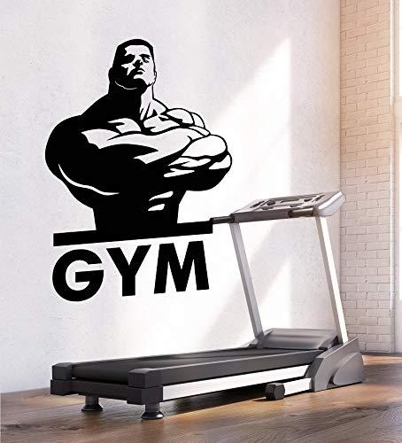Tianpengyuanshuai Vinyl Wandtattoo Fitness Club Fitness Center Muskulöser starker Körper Wandaufkleber Fitnessstudio Wandaufkleber -63X90cm