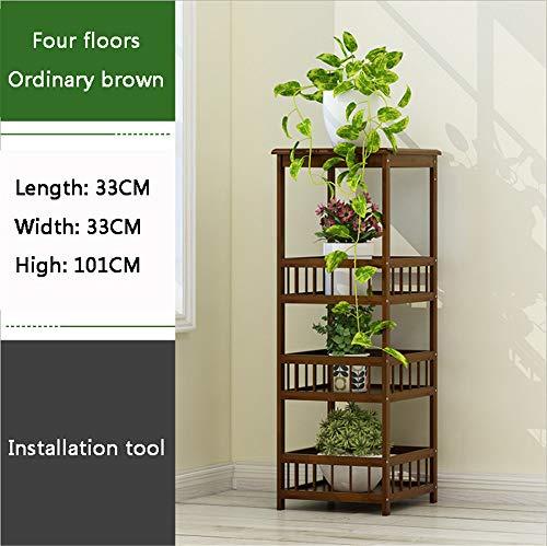 ZMXZMQ Flower Plant Stand Display Rack, Bamboe Multi opslag Hoek Plank, Ideaal voor Woonkamer, Badkamer, Keuken