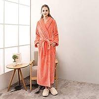 ホームライフ女性男性プラスサイズ暖かい冬のローブ女性エクストラロング暖かいフランネルサーマルバスローブ着物ドレッシングガウン女性オレンジM