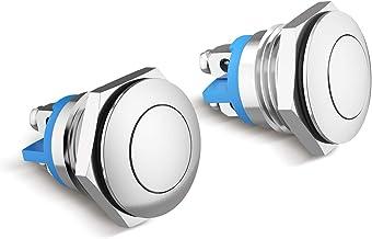 TankerStreet 2 Piezas 16mm Momentáneo Pulsador de Botón Metálico Interruptores Acero Inoxidable Impermeable Plana Top ON/OFF Pulsador Plata